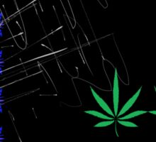 Marijuana Leaves and Scratches Sticker