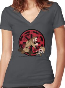 Lets Be Jedi (Qui Gon & Anakin EP1) Women's Fitted V-Neck T-Shirt