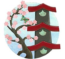 Zen Birdhouse and Blossoms Photographic Print