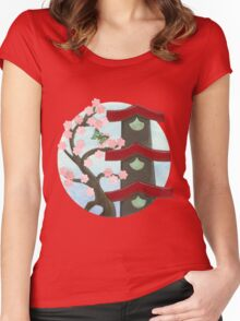 Zen Birdhouse and Blossoms Women's Fitted Scoop T-Shirt