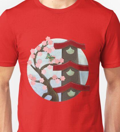 Zen Birdhouse and Blossoms Unisex T-Shirt