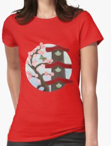 Zen Birdhouse and Blossoms Womens Fitted T-Shirt