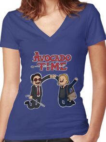 Avocado Time! Women's Fitted V-Neck T-Shirt