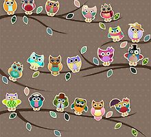Cute Little Owls on a Branch with Polka Dots by kennasato