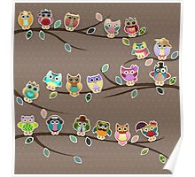 Cute Little Owls on a Branch with Polka Dots Poster