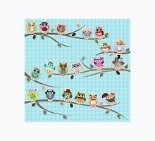 Cute Owls on a Branch with Stripes Unisex T-Shirt