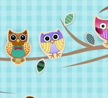 Cute Owls on a Branch with Stripes Sticker
