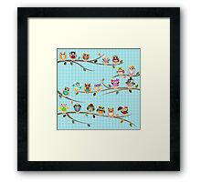 Cute Owls on a Branch with Stripes Framed Print