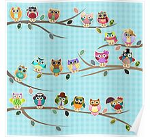 Cute Owls on a Branch with Stripes Poster