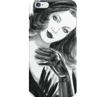 Portrait of beautiful  woman with long hair wearing a beret iPhone Case/Skin
