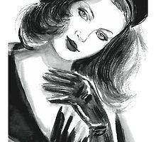 Portrait of beautiful  woman with long hair wearing a beret by torishaa
