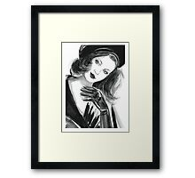 Portrait of beautiful  woman with long hair wearing a beret Framed Print
