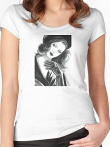 Portrait of beautiful  woman with long hair wearing a beret Women's Fitted Scoop T-Shirt