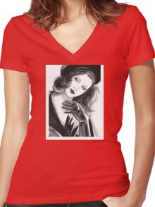 Portrait of beautiful  woman with long hair wearing a beret Women's Fitted V-Neck T-Shirt