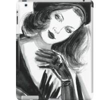 Portrait of beautiful  woman with long hair wearing a beret iPad Case/Skin