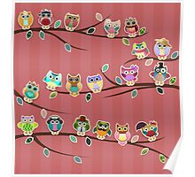 Cute Owls on Branches with Stripes Poster