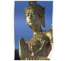 Golden Statue Outside Temple of Emerald Buddha in Bangkok, Thailand  Poster
