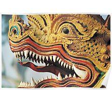 Detail of Dragon Deity Statue, Thailand  Poster