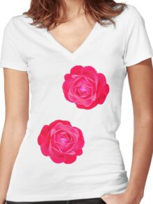 Two pink roses Women's Fitted V-Neck T-Shirt