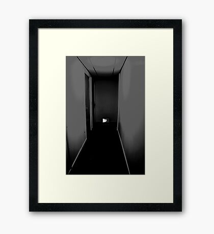 hallway and laptop  Framed Print