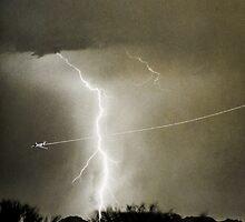 Lightning Strike - City Lights - Jett  II B&W by Bo Insogna