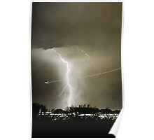 Lightning Strike - City Lights - Jett  II B&W Poster