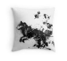 ink wolf Throw Pillow