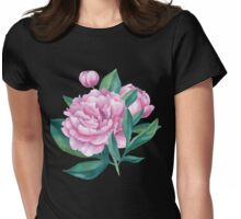Watercolor Peony Bouquet Womens Fitted T-Shirt