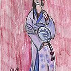 Lady Wearing Kimono Holding a Fan- Asian Women Series #3 by RobynLee