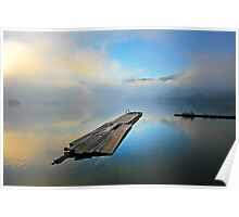 lakescape with low misty clouds reflected on blue Poster