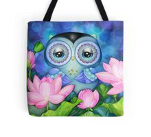 Owl in Lotus Pond Tote Bag