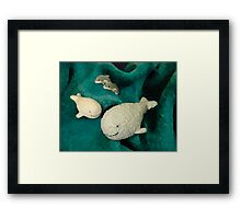 Meeting whales in my children's world Framed Print