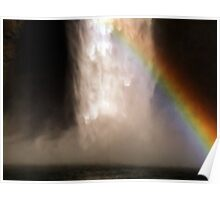 Snoqualmie Falls with rainbow Poster