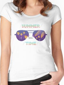 Summer time glasses Women's Fitted Scoop T-Shirt