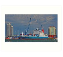 Cargo Ship at Miami Art Print