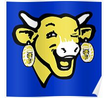 The Laughing Cow Pop 3 - Yellow  on Blue Poster