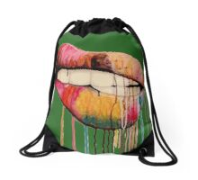 Lips color Drawstring Bag