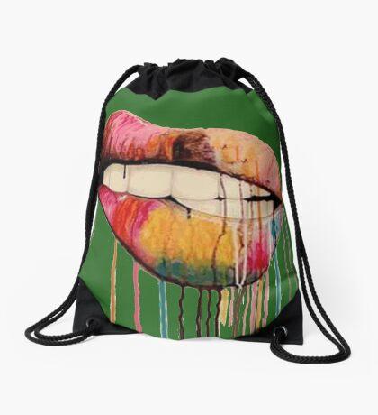 Lips color Drawstring Bag