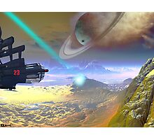 Saturn smokes while a tractor beams Photographic Print