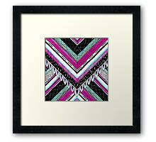 Pink & Turquoise Feather Pattern Framed Print