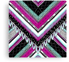Pink & Turquoise Feather Pattern Canvas Print