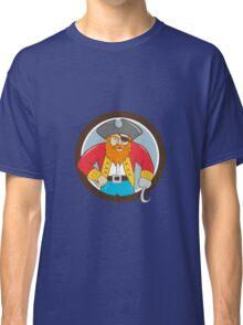 Captain Hook Pirate Circle Cartoon Classic T-Shirt