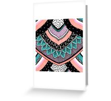Pink & Coral Feather Pattern Greeting Card