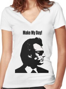 Clint Eastwood Dirty Harry Make My Day Women's Fitted V-Neck T-Shirt