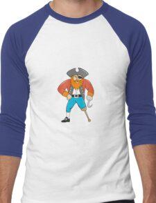 Captain Hook Pirate Wooden Leg Cartoon Men's Baseball ¾ T-Shirt