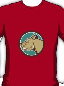 Mastiff Dog Mongrel Head Circle Cartoon T-Shirt