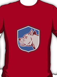 Mastiff Dog Mongrel Head Shield Cartoon T-Shirt