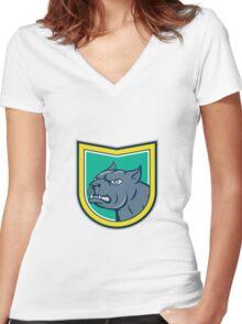 Pitbull Dog Mongrel Head Side Shield Cartoon Women's Fitted V-Neck T-Shirt