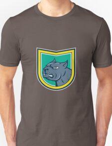 Pitbull Dog Mongrel Head Side Shield Cartoon Unisex T-Shirt