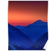 Grimsel valley at twilight Poster
